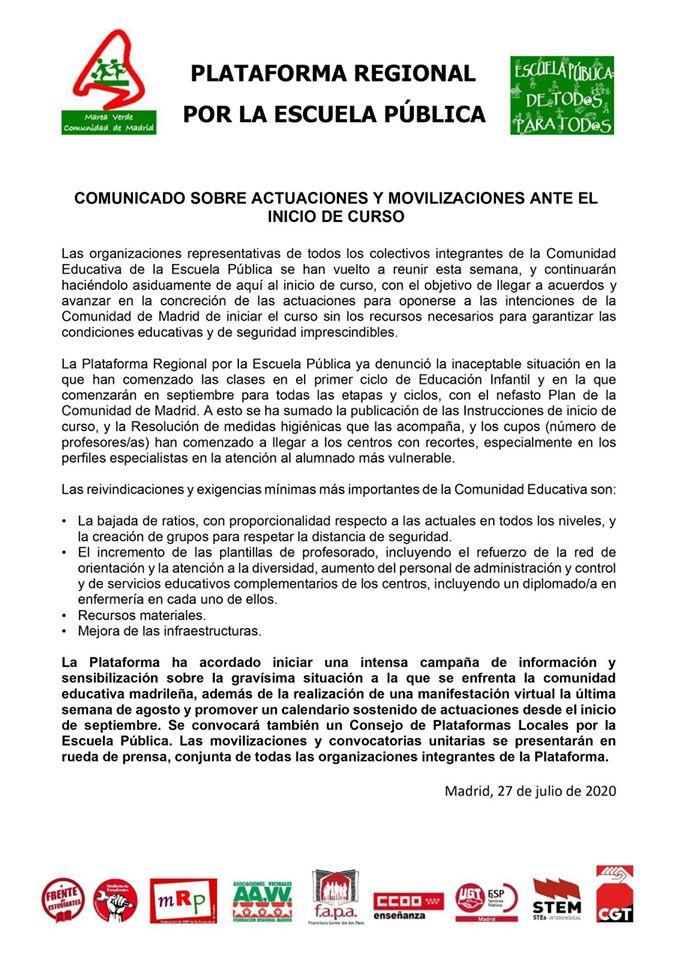 PLATAFORMA Comunicado 2