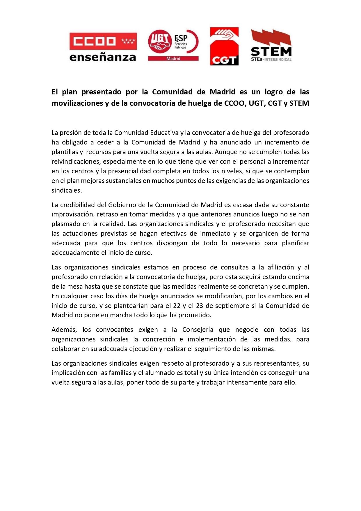 Comunicado Intersindical Plan de la Comunidad de Madrid para el inicio de curso_page-0001